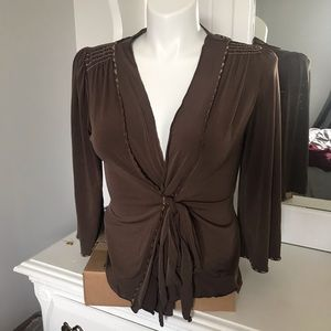 Max Studio Brown One Size Wrap Top Bell Sleeve